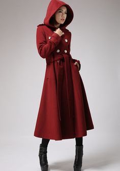 Red wine cashmere coat winter hooded mantle Military coat by xiaolizi on Etsy Hooded Wool Coat, Red Wool Coat, Long Wool Coat, Red Coats, Mantel Outfit, Winter Trench Coat, Red Trench Coat, Cape Coat, Winter Coats