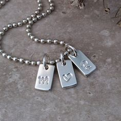 Sterling silver tag necklace initials by BlueRockJewellery on Etsy
