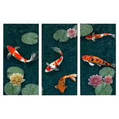 Koi Pond Canvas Giclee Print (Set of 3) - Statement Pieces on Joss Main More