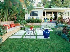 modern diagonal pavers across the lawn!