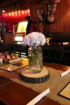 Posh Floral Designs, Western Party, Easy Party Ideas, Western Parties, Wood Slabs, Mason Jar vases, Mason Jar Centerpieces, Events By Kristin