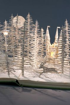 Su Blackwell....her work amazes me. UK, trained in textiles, but these are paper/book art pieces.
