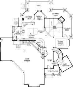 Kemper Hill Mountain Home First Floor from houseplansandmore. - Kemper Hill Mountain Home First Floor from houseplansandmore… Love the bar! House Plans And More, Luxury House Plans, Dream House Plans, House Floor Plans, My Dream Home, Dream Homes, Building Plans, Building A House, The Plan