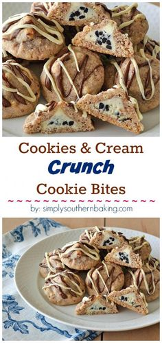 These easy to make Cookies & Cream Crunch Cookie Bites with a cereal crunch are filled with a candy kiss. They'll disappear fast!