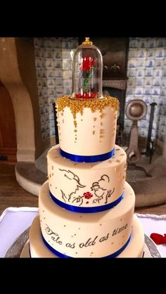 Beauty and the beast wedding cake! Simple yet so perfect!