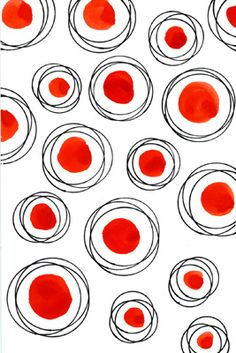 ✯ Black, Red and White ✯ Circles and dots - Illustration Boho Pattern, Pattern Art, Simple Pattern, Red Pattern, Graphic Patterns, Textile Patterns, Textiles, Graphic Design, Pretty Patterns