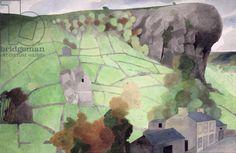 Kilnsey Crag with Pub (1972) by Edward Burra