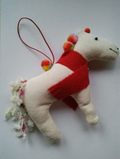 White velvet horse pony Christmas tree hanging by CraftyBunnyDog