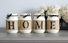 This is a custom designed & hand-painted set of 4 pint size Mason Jars wrapped in burlap to spell out any 4 letter word. These jars are hand painted ( Old White), lightly distressed and sealed. Also e