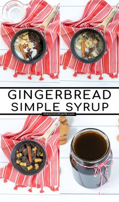Turn any beverage into a gingerbread cookie with this easy and delicious Gingerbread Simple Syrup. In only a few minutes you can have a gingerbread coffee syrup ready to make a latte better than a coffee shop! Gingerbread Syrup | Gingerbread Coffee Syrup | Gingerbread Spice Syrup | Gingerbread Syrup For Coffee | Recipe | Gingerbread Latte How To Make Gingerbread, Gingerbread Cookies, Milk Recipes, Coffee Recipes, Steamed Milk Recipe, Make Simple Syrup, Nut Milk Bag, Bagged Milk