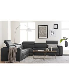 Leather Reclining Sectional, Sectional Sofa With Recliner, Living Room Sectional, Living Rooms, Apartment Living, Grey Leather Sofa, Leather Fabric, Leather Living Room Furniture, Sofa Design