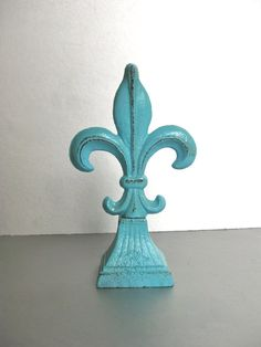 Fleur De Lis Paperweight Finial Turquoise Decor Rustic by Swede13, $15.00