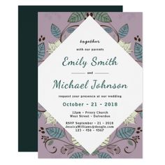 Winter Leaf Contemporary Turquoise Wedding Invites - wedding invitations cards custom invitation card design marriage party
