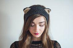Knit Silver Fox Headband, black cat.  Fall/Winter Ear-Warmer. Grey/ Black. Hand Knitted, Soft, Warm, Cute & Comfy. Adult /Baby