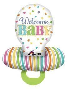 "59X22"" Baby Brights Pacifier-Pkg foil balloon"