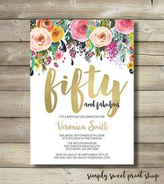 Fifty and Fabulous Birthday Party Invite by SimplySweetPrintShop