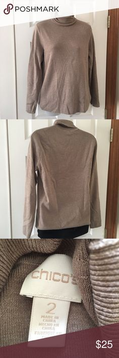 Chico's tan turtleneck. Beautiful and soft turtleneck sweater. Slight pilling but not too noticeable. Non-smoking home. Chico's Sweaters Cowl & Turtlenecks