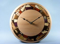 Modern Wood Mosaic  Wall Clock by EtzRon on Etsy, $138.00