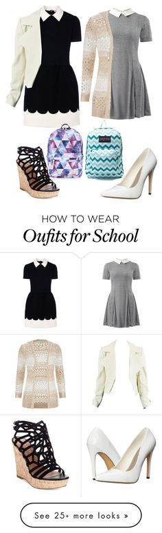 """Expensive Boarding School Outfits"" by bhappygirlz on Polyvore featuring RED Valentino, Cameo Rose, Charles by Charles David, maurices, Michael Antonio, JanSport and Accessorize"