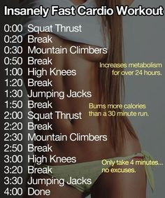 Intensely fast cardio workout! burns more calories then a 30 minute run and only takes 4 minutes!