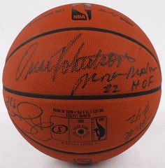 HOF Basketball Signed by (8) with Oscar Robertson, Moses Malone, Gary Payton, Elgin Baylor, George Gervin (JSA ALOA)