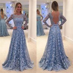 Lace Long Sleeves A-line Formal Cocktail Party Evening Long Prom Dresses Online, PD0182