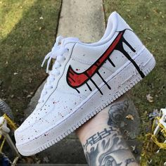 "Nike Air Force 1 ""Red Drip"" The clothing culture is fairly old. Possibly the oldest and uninterrupted cultural behavior of … Air Force Shoes, Nike Shoes Air Force, Custom Made Shoes, Custom Sneakers, Nike Custom Shoes, Custom Converse, Custom Air Force 1, Baskets, Aesthetic Shoes"