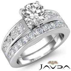 Bridal Set Round Diamond Channel Set Engagement Ring EGL E SI1 Platinum 2 44 Ct | eBay