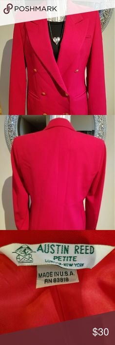 Austin Reed Red Wool Double Breasted Blazer This bright red blazer is perfect for professional power meeting! It's in good condition and a staple for your wardrobe. Austin Reed  Jackets & Coats Blazers