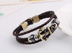 Unisex Fashion Leather Bracelet with Anchor Shape