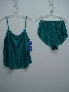 2d3a8721d5 USA Made Nancy King Lingerie Baby Doll w  Tap Pant Sleepwear Small Teal   364C