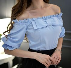 Buy dabuwawa off-shoulder bow-accent top in 2019 outfits fas Cute Fashion, Look Fashion, Hijab Fashion, Trendy Fashion, Girl Fashion, Fashion Dresses, Fashion Design, Classy Outfits, Trendy Outfits