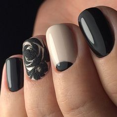 3d nails, Beige and black nail designs, Black and beige nails, Black and white…