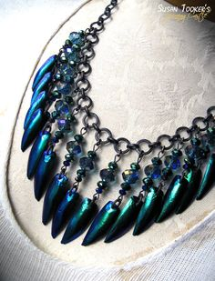 MERMAID TREASURE - Fairy Blue Elytra Jewel Beetle Wing Necklace by Susan Tooker of Spinning Castle