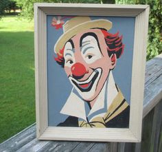 SOLD!Mid Century Happy Clown Paint by Number--Creepy Clown PBN--Sand Colored Wooden Frame--Retro Wall Art--Circus Clown Painting by AlloftheAbove on Etsy