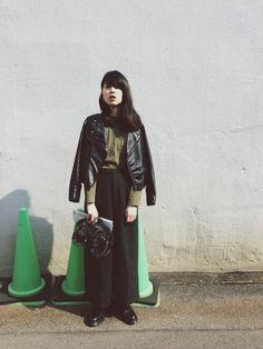 小谷実由さんのライダースジャケット「used 」を使ったコーディネート