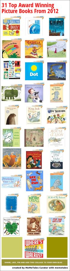 31 Top Award Winning Picture Books From 2012 - Newbery, Caldecott,  Belpré, Sibert, Geisel, and Batchelder Award and Honor books