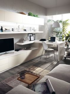 A large area offering a relaxation zone that also includes a desktop for study Living Room Wall Units, Small Living Rooms, Home And Living, Living Room Decor, Living Area, Modern Living, Room Interior, Interior Design Living Room, Living Room Designs
