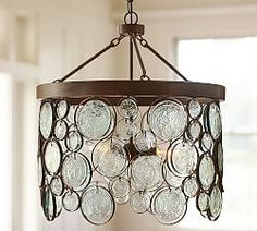 Shop emery indoor/outdoor recycled glass chandelier from Pottery Barn. Our furniture, home decor and accessories collections feature emery indoor/outdoor recycled glass chandelier in quality materials and classic styles. Patio Lighting, Kitchen Lighting, Home Lighting, Modern Lighting, Pendant Lighting, Lighting Ideas, Lighting Sale, Drum Pendant, Lighting Design