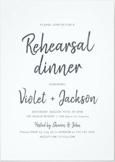 A Modern Black And White Rehearsal Dinner Invitation features a minimalistic design of handwritten brushy script in charcoal black and white color. Simple, modern and elegant wedding Rehearsal Dinner invite that you can edit and personalized with your own words.