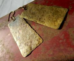 Long Rectangle Hammered Brass Earrings by Chilirose on Etsy, $20.00