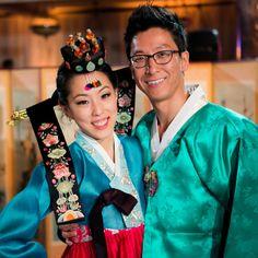 Traditional Korean Wedding Attire // photo by: Lin & Jirsa // http://www.theknot.com/weddings/album/a-chic-purple-wedding-in-los-angeles-ca-140608