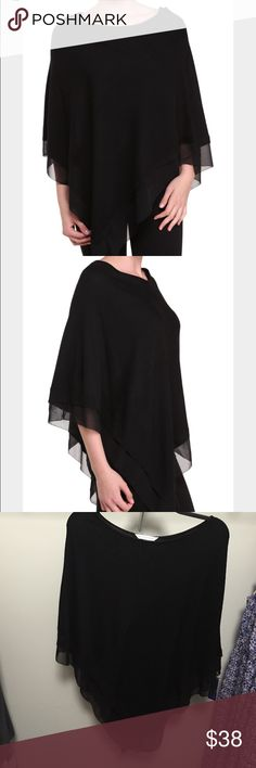 Peter Nygard black chiffon trim poncho/cape This is a great throw on and go piece for your wardrobe.  Perfect for work, daytime or night!  Has a beautiful chiffon trim that adds a lightness to the material.  Size is L/XL. Peter Nygard Sweaters Shrugs & Ponchos