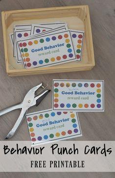 Behavior Punch Cards Behavior Punch Cards- Life with the Hawleys Behavior Chart Preschool, Good Behavior Chart, Behavior Chart Printable, Classroom Behavior Chart, Behavior Chart Toddler, Classroom Rewards, Behaviour Chart, Toddler Discipline, Kids Behavior