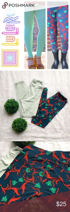 """🆕LuLaRoe Set Of Two Leggings LuLaRoe leggings in a light green mint color (the modeled picture makes them look darker than they really are) and a navy blue with red/green flowers. Selling as a set only so the listing price is for both. The navy blue ones have very minimal wear on the back (pictured above) but no other flaws to either of them. Good preloved condition. One size fits most (see size chart in the pictures), 34"""" long, and 25.5"""" inseam. Sorry but no trades and my listing price is…"""