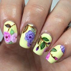 Amazing rose art yellow nails #nail #nails #nailart