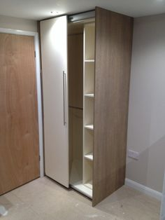 Sliding door wardrobe with ladder storage and hanging rails Ladder Storage, Tall Cabinet Storage, Hanging Rail, Sliding Doors, Bedroom Furniture, Bespoke, Home Decor, Bed Furniture, Taylormade