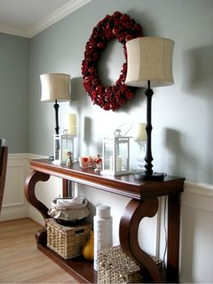 I absolutely love this table and decorations for the dining room!