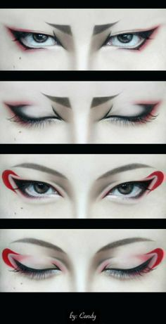 Hoozuki & Hakutaku cosplay - Character make-up << dunno who that is but this reminds me kinda of Karai's make-up from the 2012 series<<< don't know any of these but cool makeup Anime Make-up, Anime Eyes, Anime Hair, Maquillage Halloween, Halloween Makeup, Makeup Art, Makeup Tips, Anime Eye Makeup, Diy Makeup