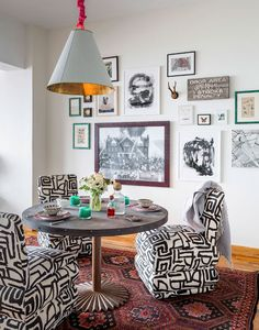 What do you get when you mix aspects of contemporary design, Southwestern Gothicism, and retro touches? This crazy-cool eclectic apartment design. Breakfast Nook Furniture, Breakfast Nooks, Graphic Pattern, Interior Decorating, Interior Design, Decorating Ideas, Interior Styling, Up House, Cool House Designs